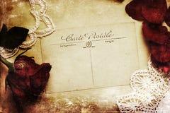 葡萄酒一张古色古香的明信片的样式图片 免版税库存图片