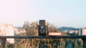 葡萄酒与书的影片在公园长椅的照相机和花在绿色城市后环境美化 免版税图库摄影