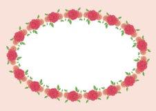 葡萄酒与五颜六色的美丽的玫瑰的传染媒介框架 eps10开花橙色模式缝制的rac ric缝的镶边修整向量墙纸黄色 皇族释放例证