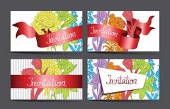 葡萄酒与五颜六色的花的邀请卡片 免版税库存照片