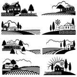 葡萄酒与农厂场面的乡下风景 在木刻样式的传染媒介背景 皇族释放例证