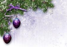 葡萄酒与分支和球的圣诞卡 库存照片