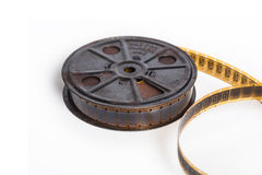 与卷轴-与空间的电影概念的葡萄酒影片文本的 免版税库存照片