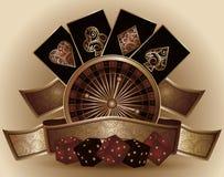 葡萄酒与啤牌元素的赌博娱乐场卡片 免版税库存照片