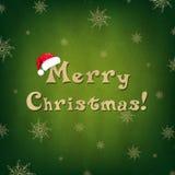 葡萄酒与圣诞老人帽子的圣诞快乐看板卡 免版税库存照片