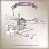 葡萄酒与奥塔科伊清真寺的旅行在博斯普鲁斯海峡的例证和桥梁在伊斯坦布尔,土耳其 手拉的草图 向量例证