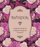 葡萄酒与手拉的桃红色和白色牡丹,红色百合的邀请卡片,可以为婴儿送礼会、婚礼,生日和在地平线上方使用 免版税库存照片