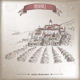 葡萄酒与普罗旺斯镇的旅行例证和avender调遣 免版税库存照片