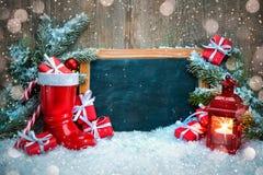 葡萄酒与标志的圣诞节装饰 库存图片