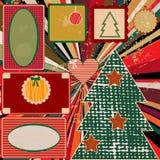 葡萄酒与框架的圣诞节背景 免版税库存照片