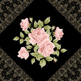 葡萄酒与玫瑰的花卡片 库存照片