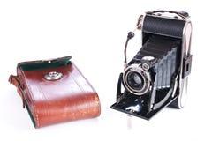 葡萄酒与皮革案件的摄影照相机 库存照片