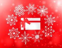 葡萄酒与真实的纸雪花的圣诞节明信片 库存照片