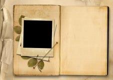 葡萄酒与老照片框架的象册 库存照片