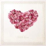 葡萄酒与花卉心脏的传染媒介卡片 库存图片