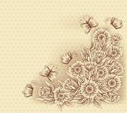 葡萄酒与花和蝴蝶,传染媒介的贺卡 免版税库存照片
