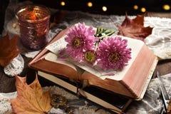 葡萄酒与被打开的书和花的样式静物画 免版税库存图片