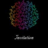 葡萄酒与被概述的蝴蝶装饰品的邀请卡片 免版税图库摄影
