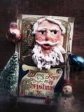 葡萄酒与装饰品的圣诞卡 库存照片