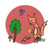 葡萄酒与逗人喜爱的狐狸的秋天卡片 免版税库存图片