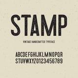葡萄酒与邮票作用的被手工造的字体 也corel凹道例证向量 库存例证
