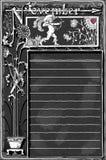 葡萄酒与阿切尔丘比特的11月页在黑板 图库摄影