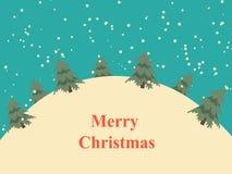 葡萄酒与雪小山和树的圣诞卡 免版税库存照片