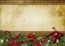 葡萄酒与霍莉和冷杉木的圣诞节背景 免版税库存照片