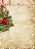 葡萄酒与霍莉的圣诞卡 免版税库存照片