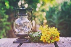 葡萄酒东方灯笼和黄色春天调遣花 图库摄影