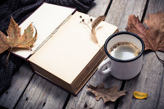 葡萄酒书、被编织的毛线衣有秋叶的和咖啡杯 库存图片