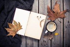 葡萄酒书、被编织的毛线衣有秋叶的和咖啡杯 图库摄影