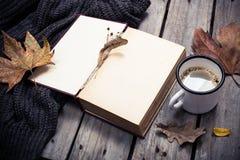 葡萄酒书、被编织的毛线衣有秋叶的和咖啡杯 免版税库存照片