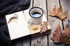 葡萄酒书、被编织的毛线衣有秋叶的和咖啡杯 免版税库存图片