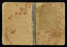 葡萄酒书的美好的盖子与花卉框架的您的文本的一个空白的标签 免版税库存照片