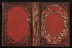 葡萄酒书的美好的盖子与花卉框架的您的文本的一个空白的标签 免版税库存图片