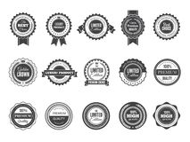 葡萄酒优质徽章 豪华优质最佳的挑选标签或商标邮票传染媒介汇集黑色模板的 向量例证