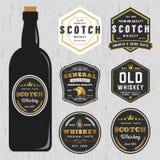 葡萄酒优质威士忌酒商标标签设计模板 向量例证