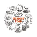 葡萄酒传染媒介手拉的墨西哥食物剪影例证 向量例证