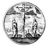 葡萄酒传染媒介画或显示耶稣基督的在十字架上钉死被环绕的例证古色古香的板刻  向量例证