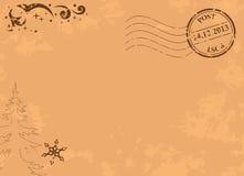 葡萄酒传染媒介与岗位邮票的圣诞节明信片 免版税库存图片