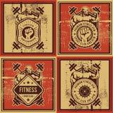 葡萄酒传染媒介健身和健身房徽章 图库摄影