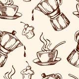 葡萄酒传染媒介咖啡无缝的样式 免版税库存照片