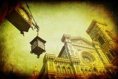 葡萄酒佛罗伦萨大教堂的样式图片 免版税库存照片