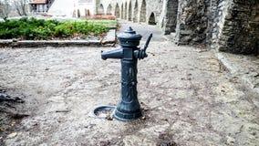 葡萄酒供水系统在老塔林 免版税库存图片