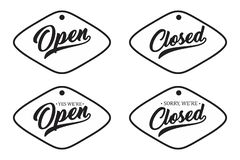 葡萄酒信件开放和闭合为您的商店门 库存例证
