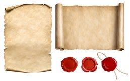 葡萄酒信件纸卷或纸莎草与蜡被设置的封印邮票隔绝了3d例证 免版税库存照片
