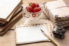 葡萄酒信件、墨水和笔 库存图片