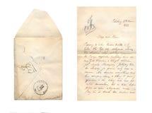 葡萄酒信件和信封 免版税库存图片