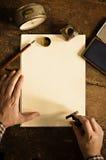 葡萄酒信件和通信概念 复制空间重写您的文本 免版税库存图片